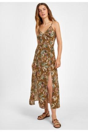 فستان طويل بنقشة متعدد الألوان