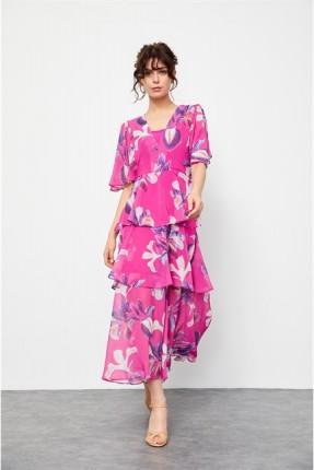 فستان مزين بنمط مكشكش