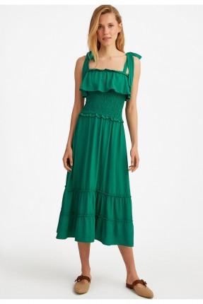 فستان طويل بتفاصيل كشكش - اخضر
