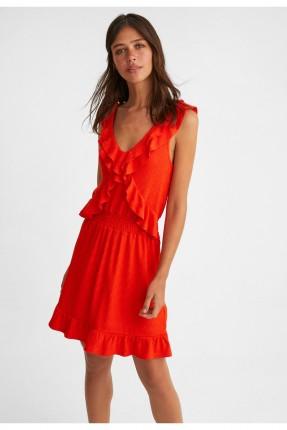 فستان قصير مكشكش - احمر