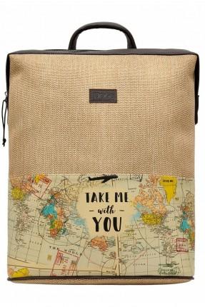 حقيبة ظهر نسائية مزينة بطبعة خريطة