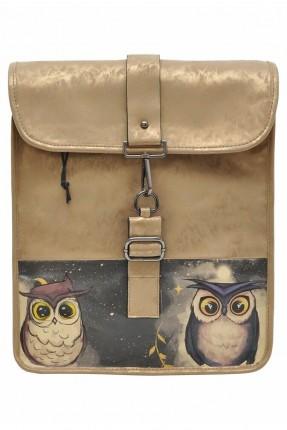 حقيبة ظهر نسائية مزينة بطبعة بومة
