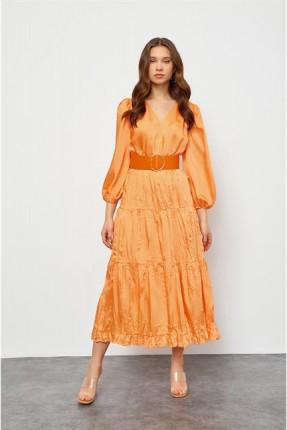 فستان طويل مزين بحزام - برتقالي