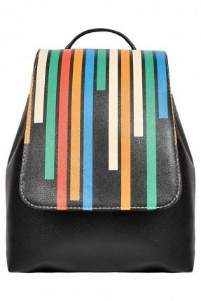 حقيبة ظهر نسائية مزينة بنمط خطوط ملونة