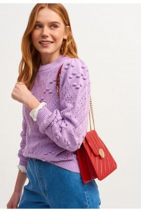 حقيبة يد نسائية جلد صغيرة بسلسلة - احمر