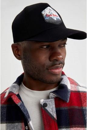 قبعة رجالية مزينة بطبعة - اسود