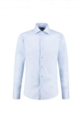 قميص رجالي سادة اللون - ازرق