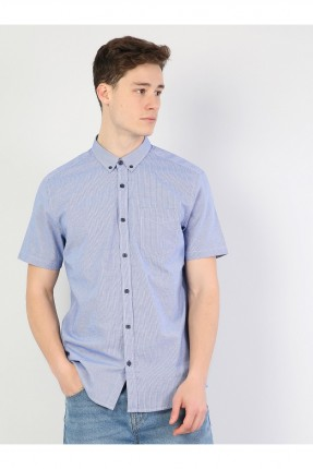 قميص رجالي نصف كم مزين بجيب