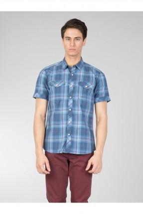 قميص رجالي كارو مزين بجيوب