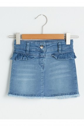 تنورة جينز بيبي بناتي بكشكش