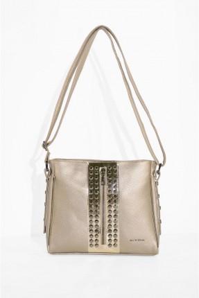 حقيبة يد نسائية مزينة بسحاب