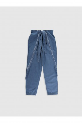بنطال جينز اطفال بناتي مزين بخصر مطاط