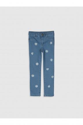 بنطال جينز اطفال بناتي مزين بازهار