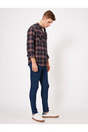 بنطال جينز رجالي ضيق غامق