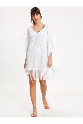 فستان شاطئ مزين بشراشيب - ابيض