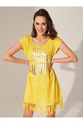 فستان شاطئ مزين بشراشيب