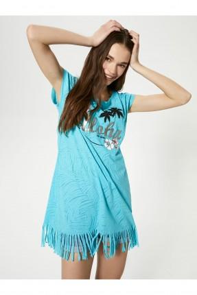 فستان شاطئ مزين بشراشيب - ازرق