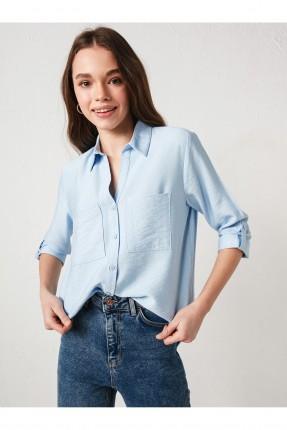 قميص نسائي بازرار وجيب - ازرق