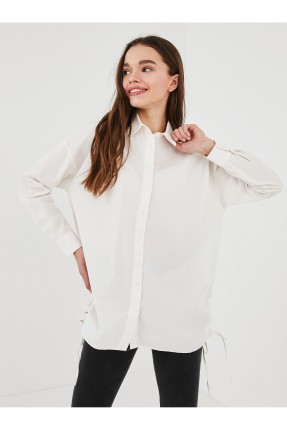قميص نسائي طويل مزموم من الجنب