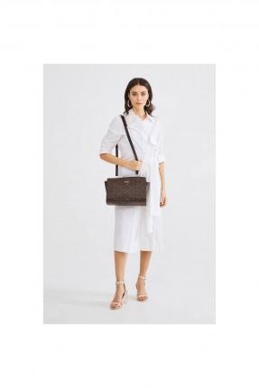 حقيبة يد نسائية بنقشة وحزام - بني
