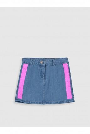 تنورة جينز اطفال بناتي مزينة بالترتر الملون