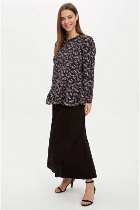 تنورة طويلة سادة اللون - اسود