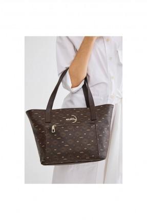 حقيبة يد نسائية بنقشة وحمالات - بني