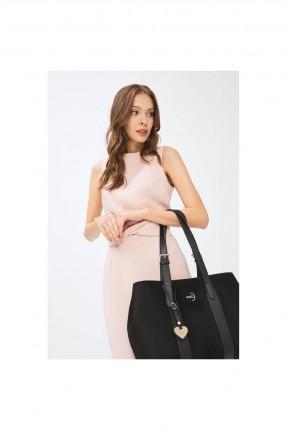 حقيبة يد نسائية جلد بحمالات - اسود