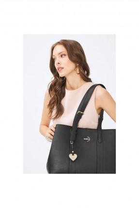 حقيبة يد نسائية بحمالات وعلاقة - اسود