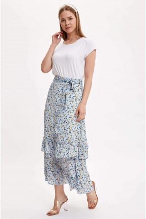 تنورة طويلة مزينة بنقشة زهور - ازرق