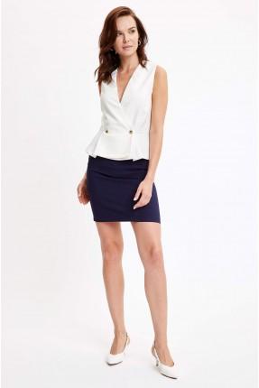 تنورة قصيرة سادة اللون - كحلي