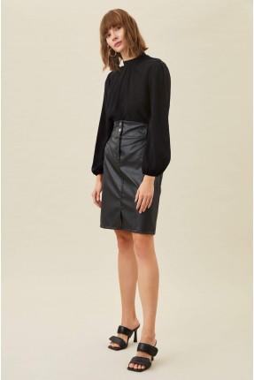 تنورة قصيرة جلد - اسود