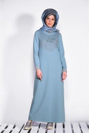 فستان كم طويل مزين بستراس