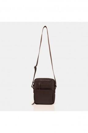 حقيبة يد رجالية جلد بحزام - بني
