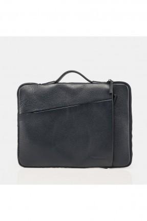 حقيبة يد رجالية جلد بسحابات - كحلي
