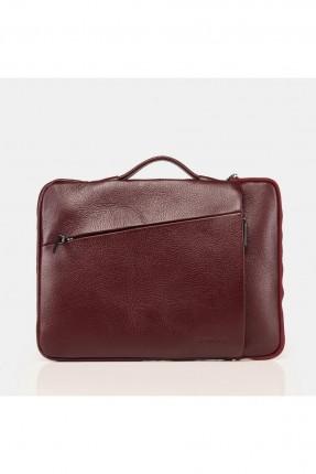 حقيبة يد رجالية جلد بسحابات - بوردو