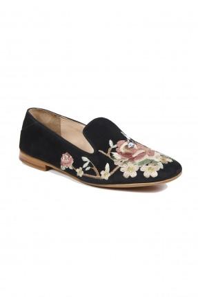 حذاء نسائي بنقشة الزهور - اسود