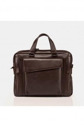حقيبة يد رجالية جلد بجيب - بني