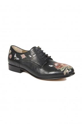 حذاء نسائي بنقشة الزهور- اسود