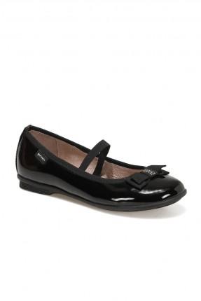حذاء اطفال بناتي مزين ببيونة - اسود