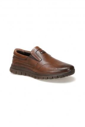 حذاء رجالي جلد سادة اللون - بني