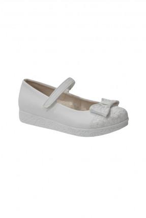 حذاء اطفال بناتي مزين بلاصق وببيونة - ابيض