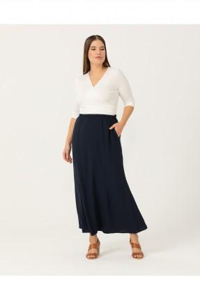 تنورة طويلة مزينة بجيوب جانبية - ازرق داكن