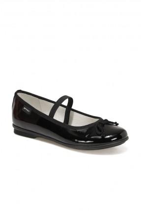 حذاء اطفال بناتي مزين بربطة - اسود
