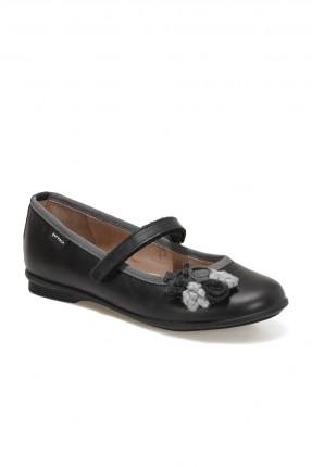 حذاء اطفال بناتي مزين بزهور - اسود
