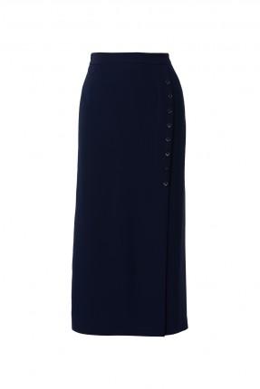 تنورة طويلة مزينة بازرار جانبية - ازرق داكن