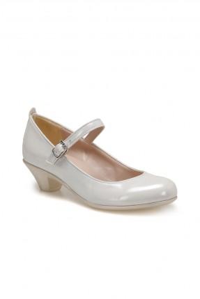 حذاء اطفال بناتي بكعب وبكلة - ابيض