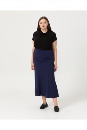 تنورة طويلة سادة - ازرق داكن