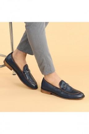 حذاء رجالي مزين بقطعة معدنية - كحلي