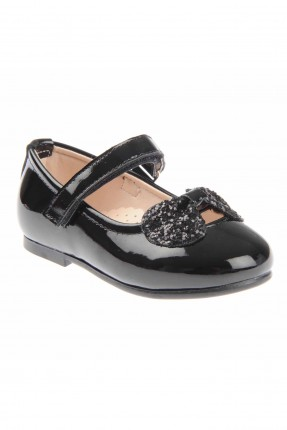 حذاء بيبي بناتي لامع مزين بفيونكة - اسود